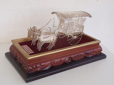 1617 SALE: CHINESE STERLING SILVER MINIATURE FILIGREE CART w/ OX on STAND