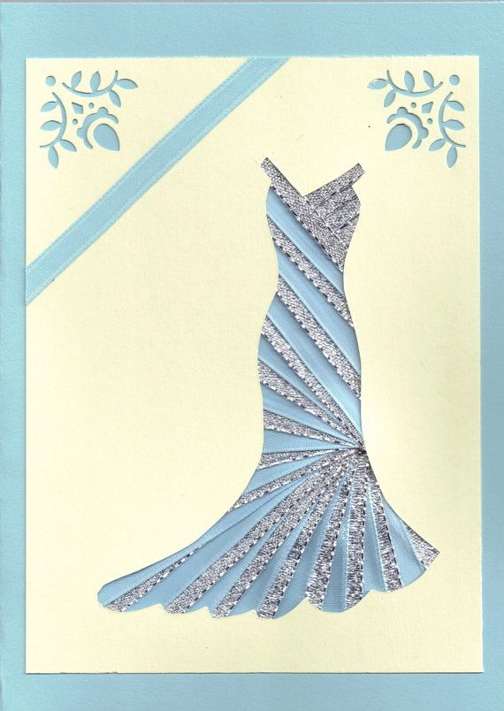 Ribbon Iris Fold Card  Dress in Silver and Blue by FourSistersShop, $4.50