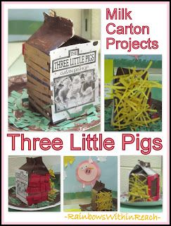 Three Little Pigs: Nursery Rhymes Milk Carton Project