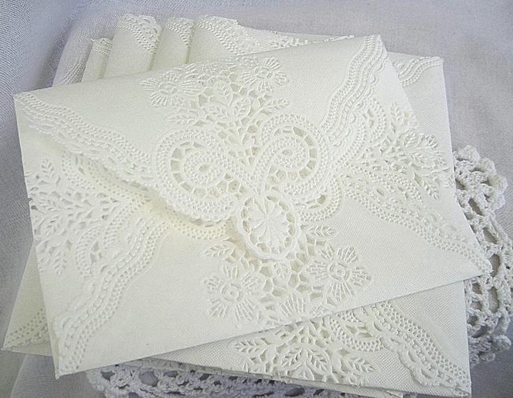 Vintage Doily Lace Paper Envelopes, Handmade, Wedding Invitation Liner, Shabby Chic, 5 Piece Set. $12.00, via Etsy.