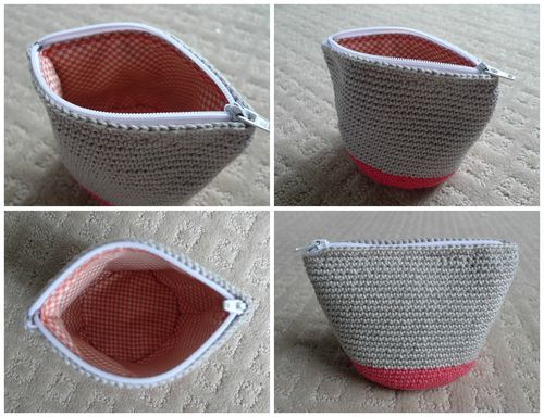 crochet pouch, with clear photos and instructions for lining it and inserting a zip.