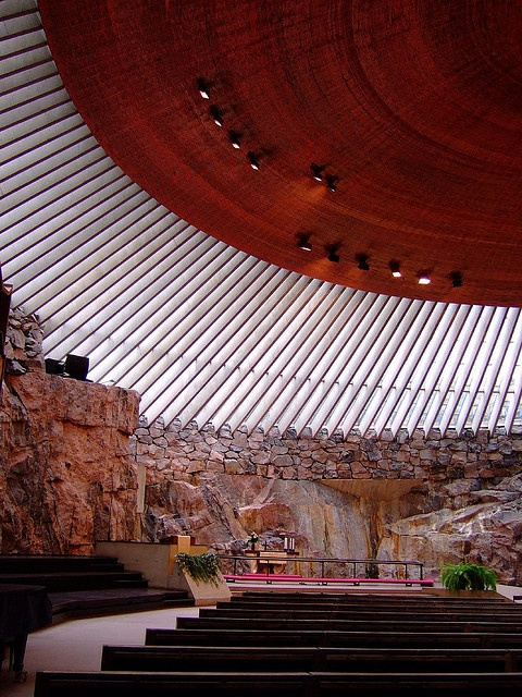 "Temppeliaukio, ""Rock Church"", Helsinki, Finland. A huge copper ""wok pan"" floating above your head. Photo by strangebehaviour on Flikr."