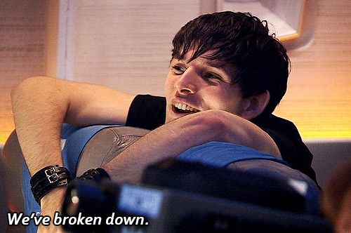 thekingstemptress: merlinwhosuperpotterlock: this is and forever will be the best thing ever the way his face changes so suddenly is just genius Colin Morgan in Doctor Who Series 4: Midnight his face is the BEST part about this gif!!! XD