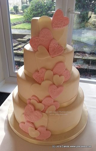 4 Tier Pink and Ivory Hearts wedding cake | Flickr - Photo Sharing! www.joscakes.net
