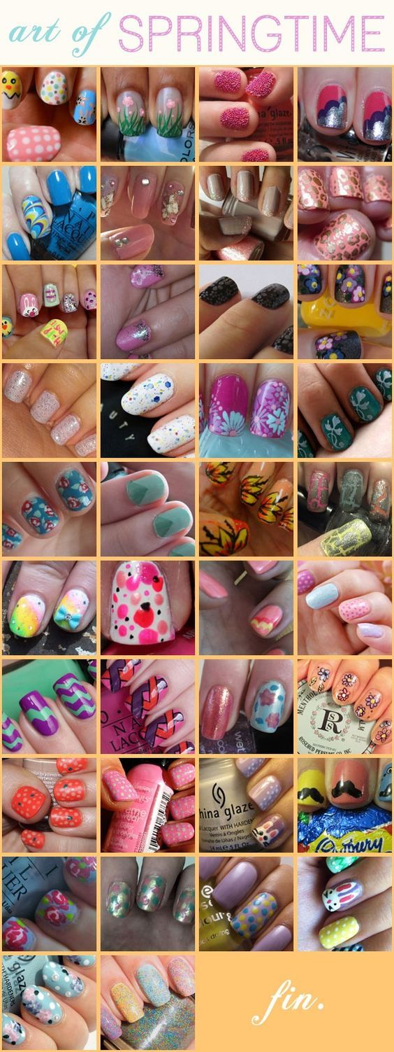 38 different spring-themed nail designs!  If you can't do it yourself, take these pictures with you to your nail artist at the salon.