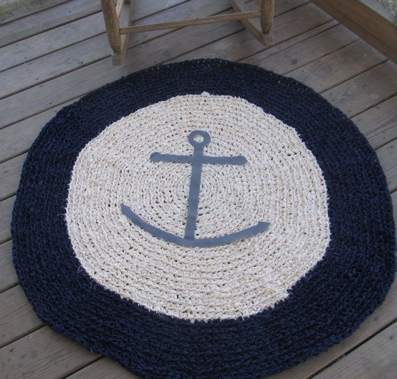Anchors Ahoy OOAK Crochet Nautical Round Rug Navy by LakeShoreHome, $150.00
