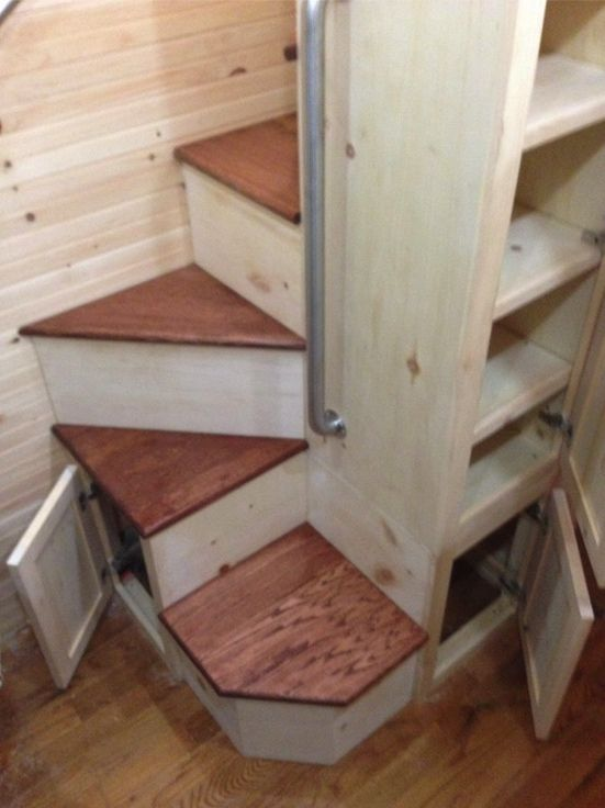 Staircase in the Little Big House built by Bear Creek Carpentry Company.  https://www.facebook.com/pages/Bear-Creek-Carpentry-Company/294079710642487