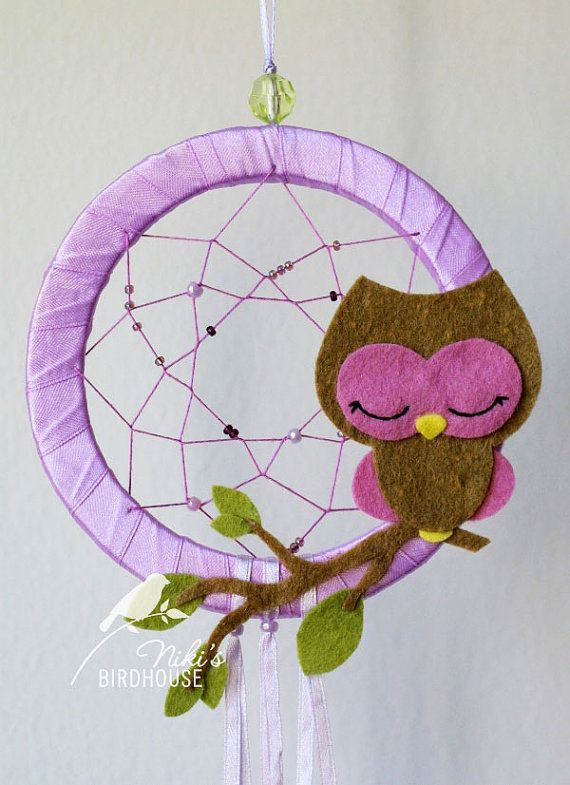Owl Dreamcatcher in purple - room decor for children - READY TO SHIP -nursery mobile on Etsy, $15.00