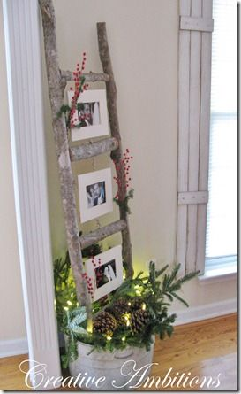 tree limb ladder as a picture frame make them in different heights for window displays great idea for showing off your holiday