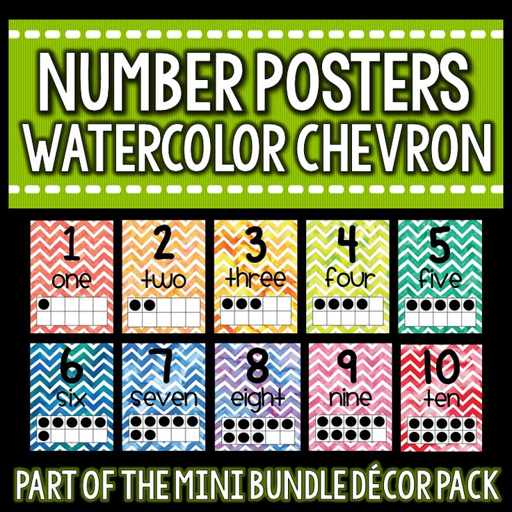 FREE Watercolor Chevron number posters to brighten up your classroom!