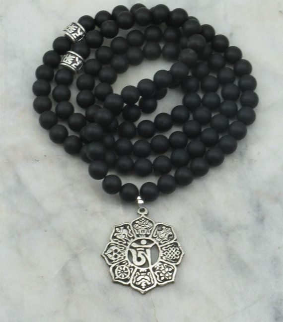 Crows Mala Necklace 108 Black Agate Mala Beads by SaltSpringMalas, $80.00