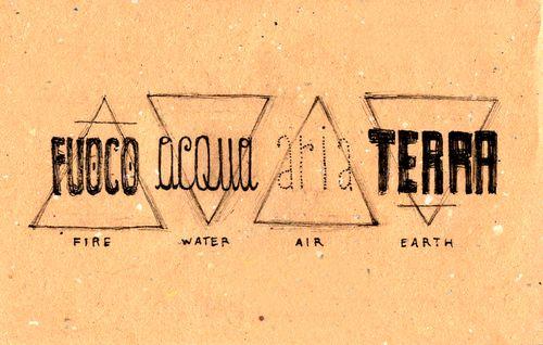 Italian Language ~ Fuoco, acqua, aria, terra (fire, water, air, earth)