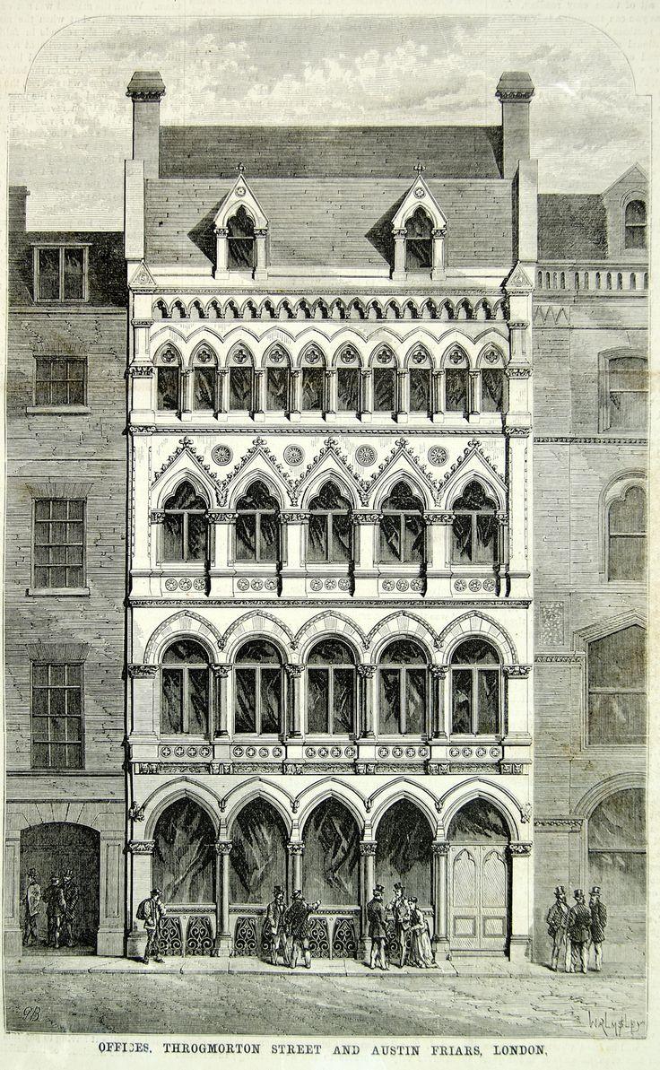 1871 Wood Engraving London Architecture Throgmorton Street Austin Friars YSA3