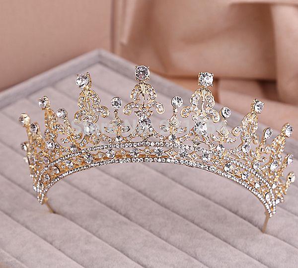 Red/Clear Wedding Bridal Crystal Tiara Crowns Princess Queen Pageant Prom Rhinestone Veil Tiara Headband Wedding Hair Accessory