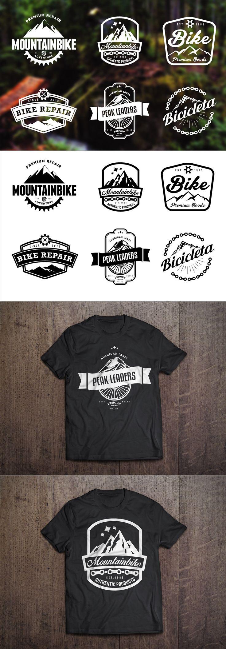 Mountain Bike Retro Badges Template #design Download: https://creativemarket.com/lovepower/85908-Mountain-Bike-Retro-Badges?u=ksioks