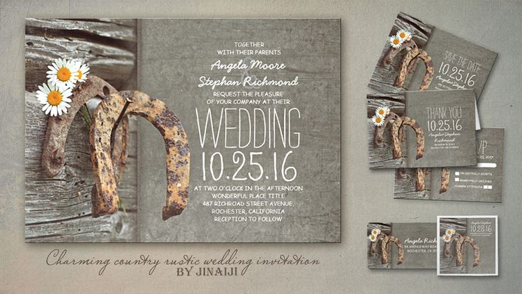 Beautiful fabulous rustic country wedding invitations with old horseshoe. Creative and simple, vintage yet modern perfect invite for summer, spring and fall wedding themes. Top invitation for weddi...