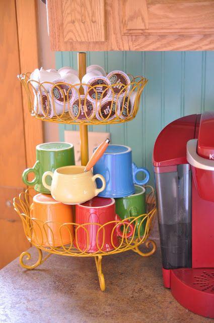 Fiestaware mugs, Fiesta mugs, Homer Laughlin Fiestaware, keurig, k-cup storage