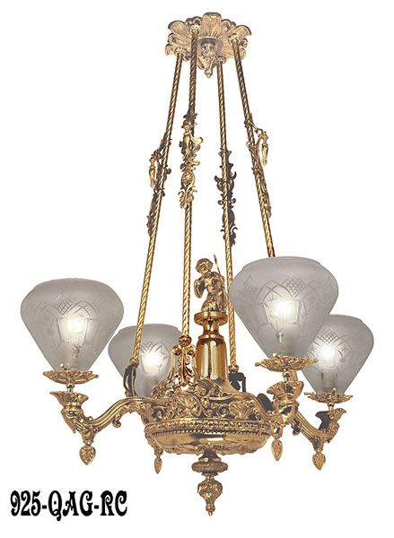 Victorian Light   Neo Rococo Cupid Center Starr Fellows Gasolier C 1856