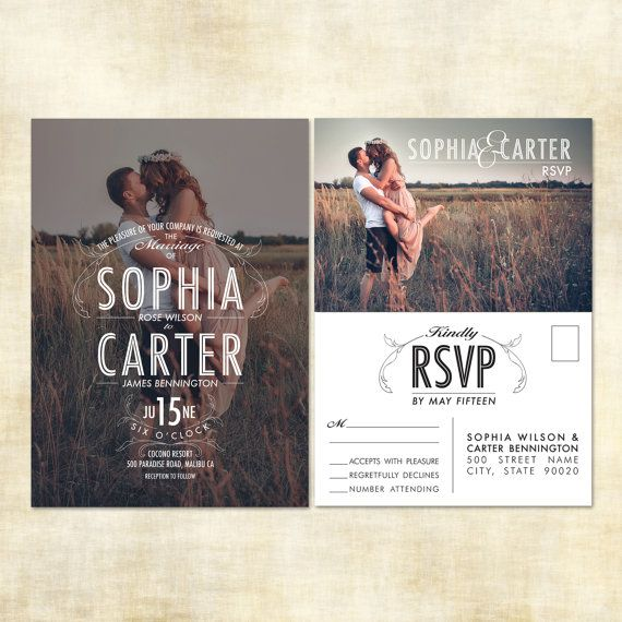 Photo Wedding Invitation and RSVP Postcard by JennyLynnCreative, $24.00, vintage, rustic, whimsical, shabby chic personalized photo invitations.