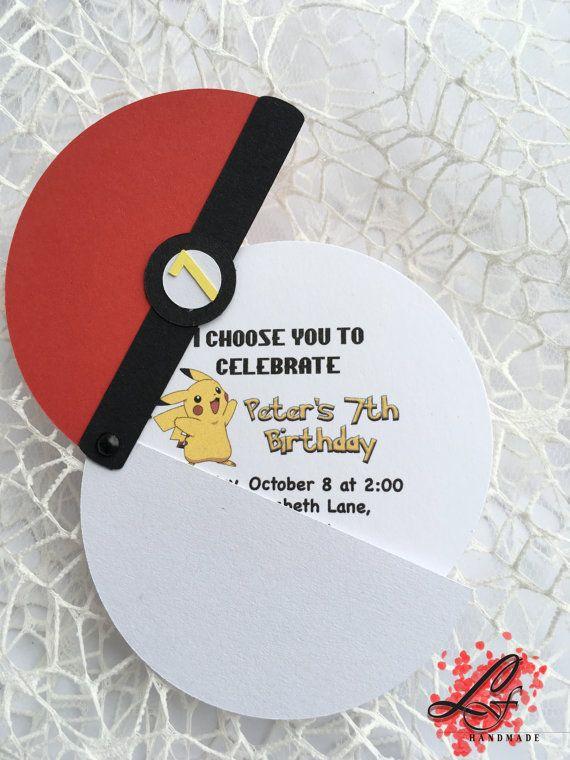Set of 10 Pokemon Birthday Invitations by LusyFashionJewelry