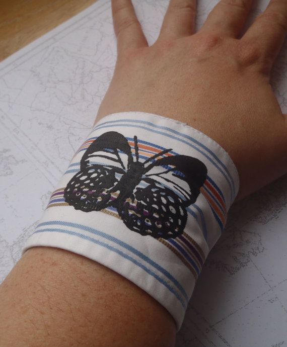Butterfly Striped Fabric Cuff #Upcycled from a Men's Shirt by EmpireRuhl, $12.00: Cuffs Bracelets, Cuff Upcycled, Fabric Cuff