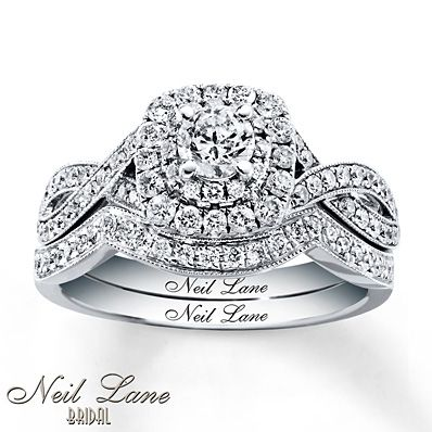 Neil Lane Bridal Set 7/8 ct tw Diamonds 14K White Gold. pretty much perfect; only need one round of diamond cushion, not two, around main round stone