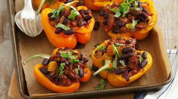 Rezept: Gelbe Paprika gefüllt mit Hackfleisch und Kidneybohnen