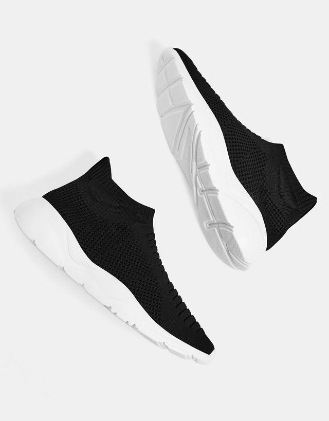 cheap for discount 1d304 222d7 Men s sock-style high-top trainers - Bershka  bershka  newin  trends   outfits  look  moda  fashion  shoes  zapatos  deportivas  sneakers  man   modern ...
