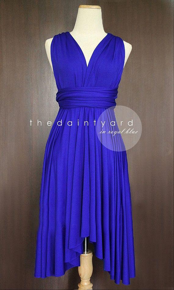 Royal Blue Bridesmaid Convertible Dress Infinity Dress Multiway Dress Wrap Dress Wedding Dress on Etsy, $34.00