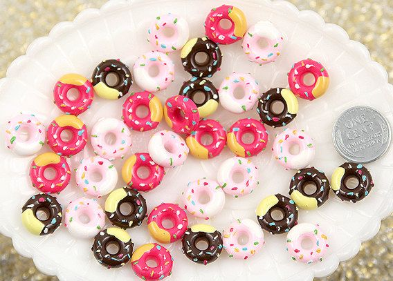 13mm Pink and Chocolate Sprinkles Donut Mix Resin by delishbeads