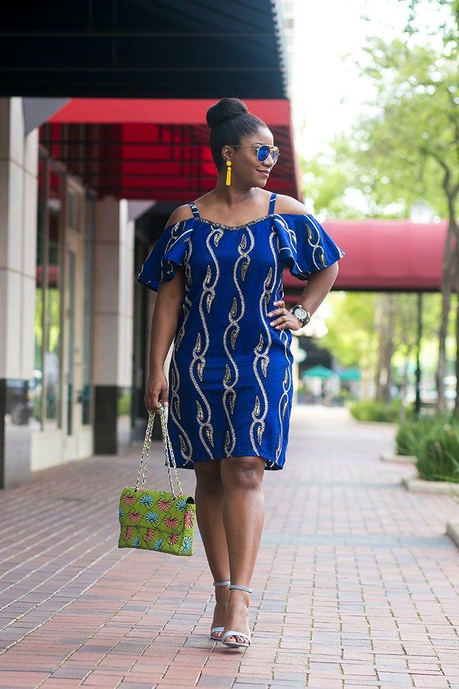 Ankara Cold Shoulder Dress for Spring #springstyle #africanprints #ankarastyles #ankara #coldshoulderdress #coldshoulder #spring #bluedress #topknot
