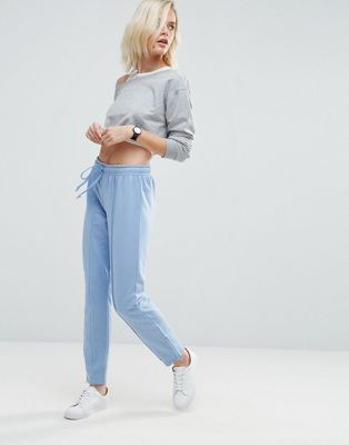 Меланжевые спортивные штаны скинни с молнией по бокам ASOS