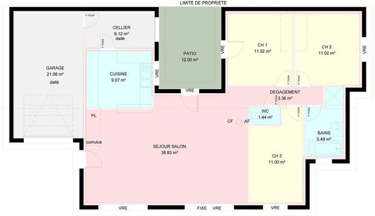 Maisons plain pied 3 chambres construites par demeures for Demeures familiales