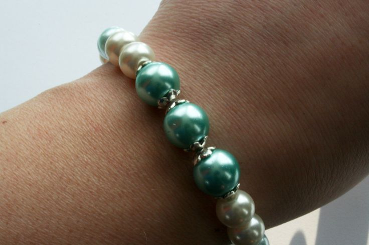 Pearl bracelet with azore, aqua and ivory pearls. door Fedaro op Etsy