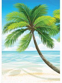 Carte postale de vacances avec un beau dessin d'un cocotier, à imprimer | Cartes postales de ...