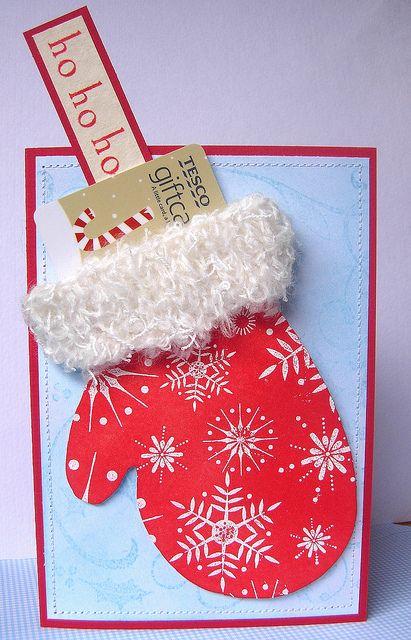Santa Mitten gift card or money holder card