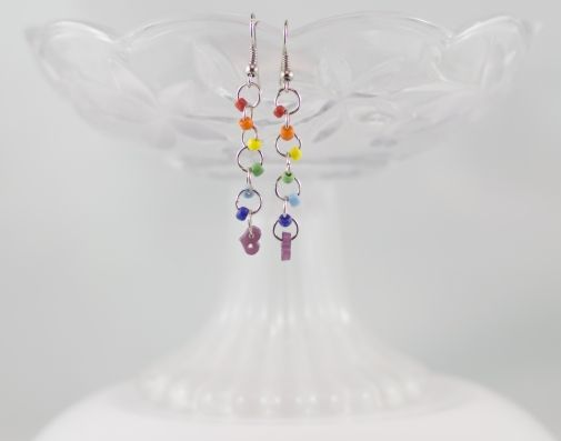 Rainbow bead violet heart button dangling chainmail earrings