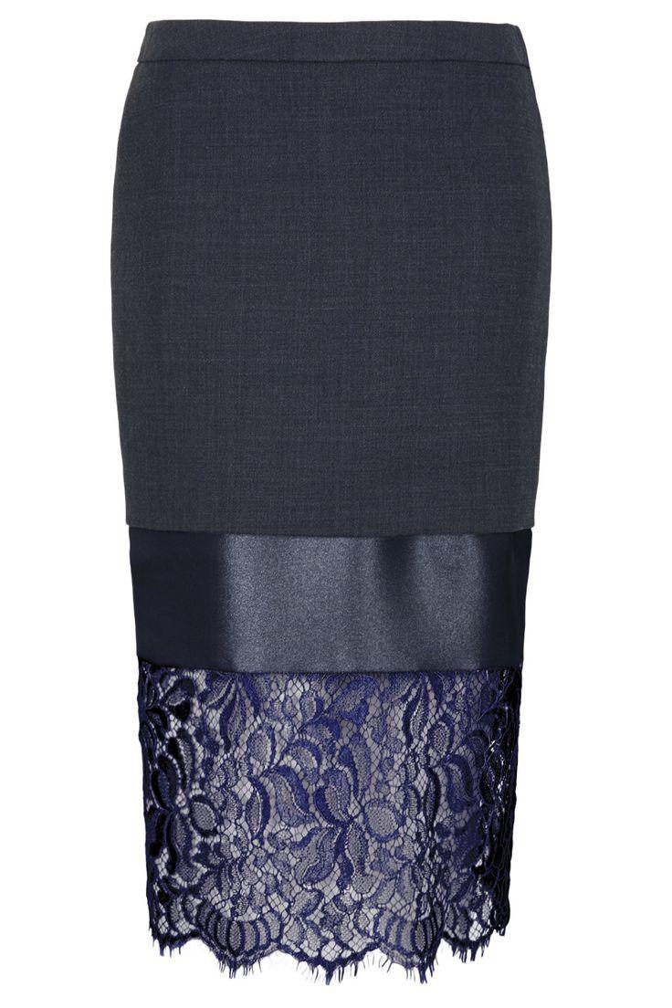 **Lace Hem Midi Pencil Skirt by Unique