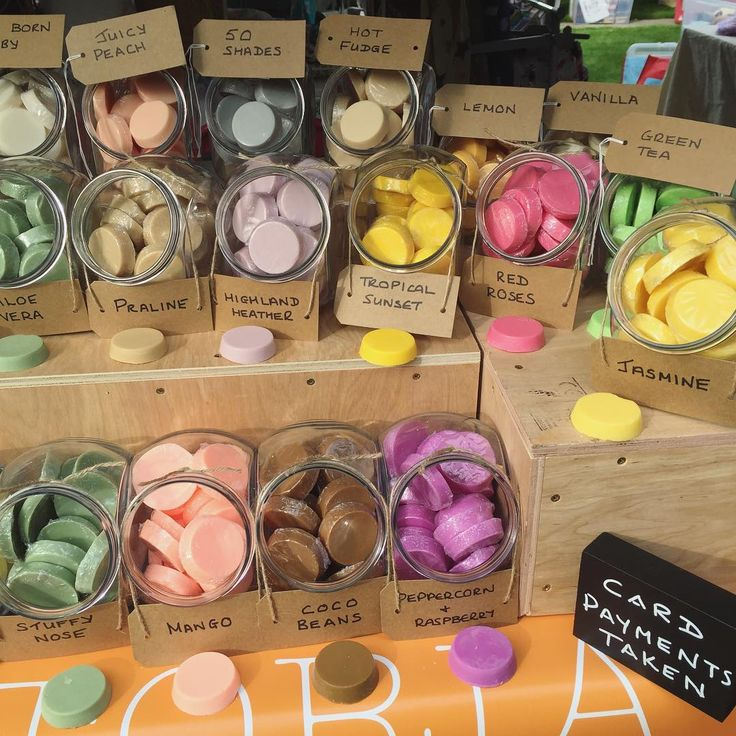 A small selection of our hand poured, all natural soy wax melts! Great to be back at a market! www.emilyvictoriacandles.co.uk