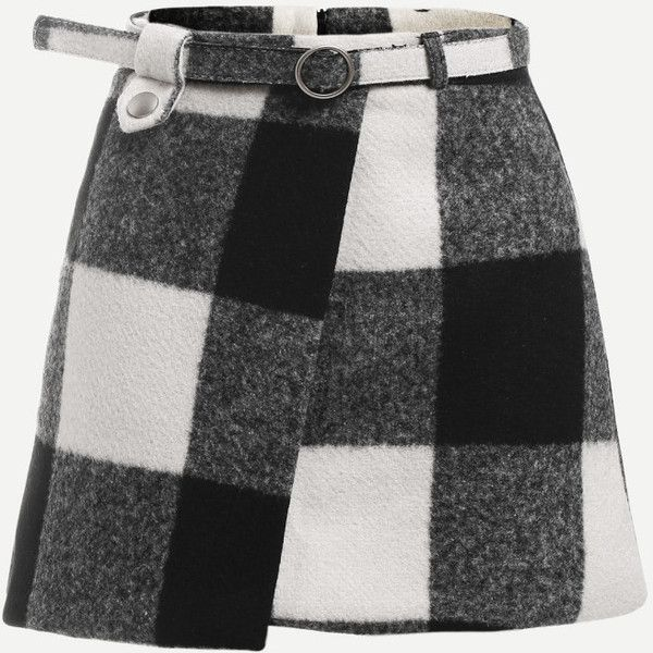 Check Plaid Asymmetrical Front Layer Skirt ($7.99) ❤ liked on Polyvore featuring skirts, plaid skirt, layered skirt, checkered plaid skirt, checked skirt and checkerboard skirt