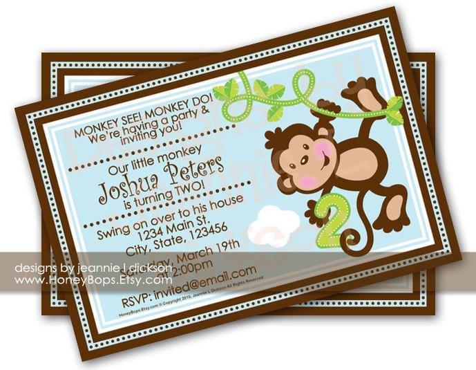 Monkey Invitation Birthday Baby Shower Announcement BLUE custom invite - uPrint Digital JPG File. $16.95, via Etsy.