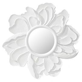 """Wall mirror with a peony silhouette.   Product: Wall mirrorConstruction Material: Mirrored glass and resinColor: WhiteFeatures: Part of the Peony CollectionDimensions: 36"""" Diameter x 1.5"""" D"""
