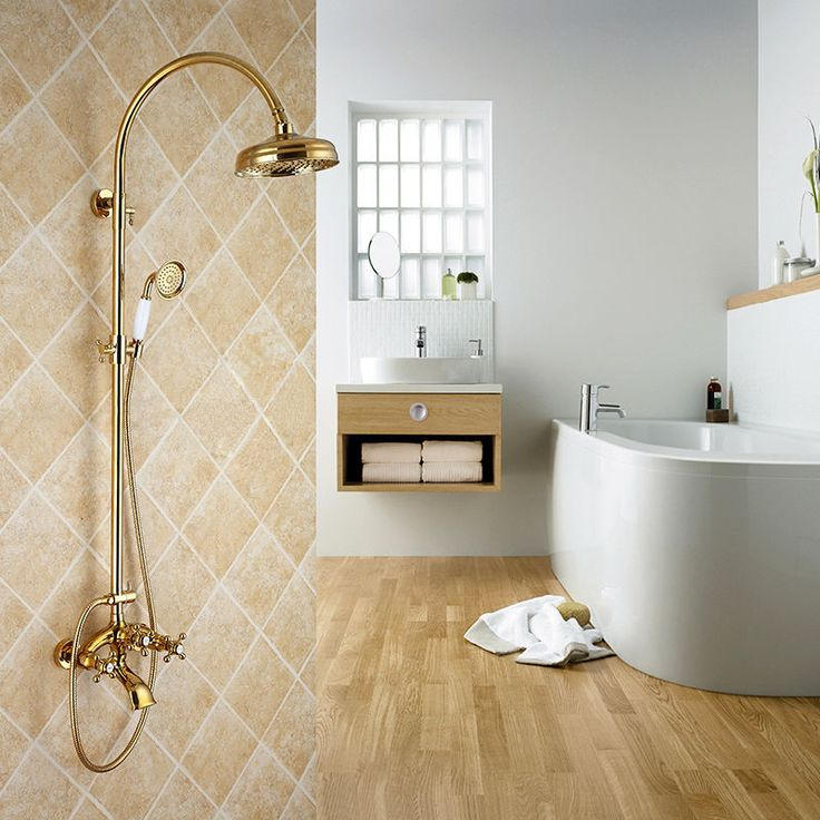 Shower With Hand Shower Part - 36: Classic Gold Rain Shower Head Handshower Shower Set Wall Mounted Bath Mixer  Taps