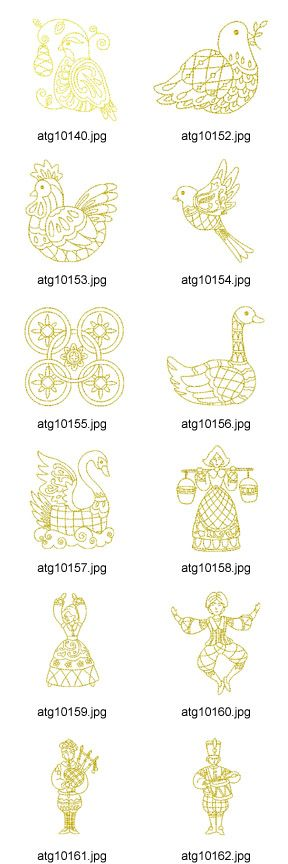 12 Days of Christmas Ornamental Redwork Embroidery Designs.     Artistic Thread Works {}