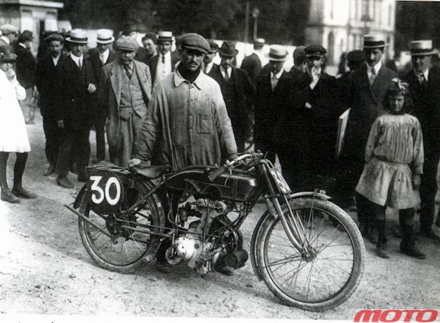 France, 1912, racing Peugeot 500 - the world's first motorcycle with dual over head cam & four-valve head.