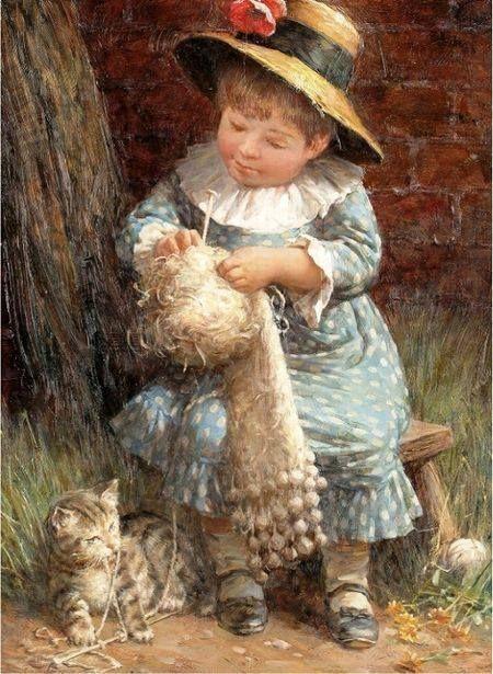 Knitting in Art 'Little Girl Knitting' by Jonathan Guinness, 20th Century English painter. #knitting #art