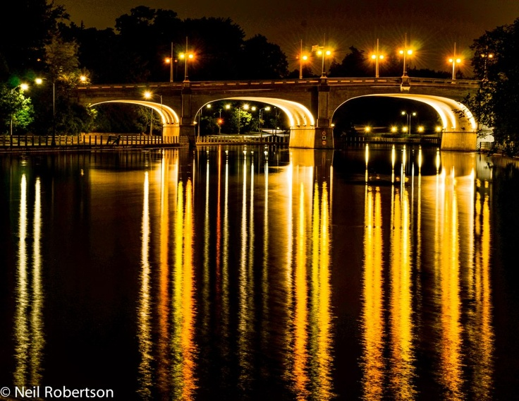 The Rideau Canal, Ontario's only UNESCO World Heritage Site, as seen from downtown Ottawa, Canada.