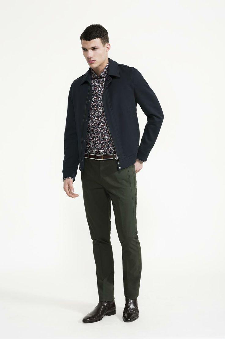 Calibre - Botanic Print Shirt | Twill Jacket | Forest Pant | Multi Stripe Belt | Doucal's Red Boot