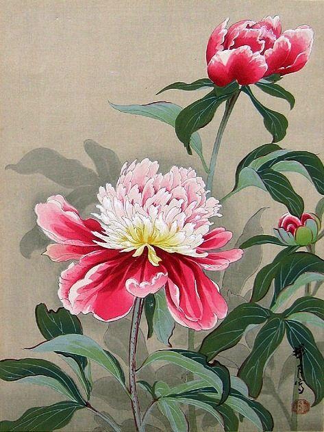 Peonies, by Zuigetsu Ikeda, ca 1950