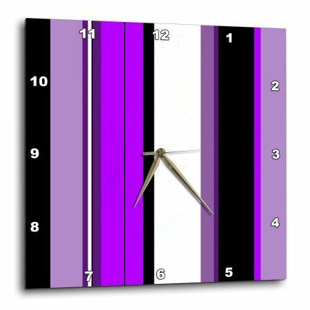 3dRose Purple Stripe, Wall Clock, 13 by 13-inch
